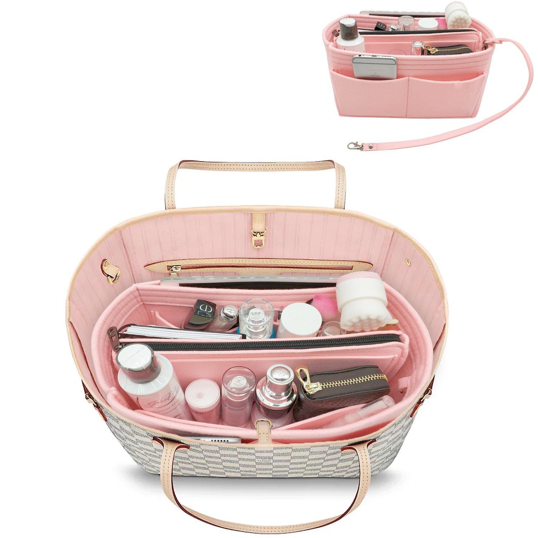 YOOXI Purse Organizer, Multi-Pocket Felt Handbag Organizer, Purse Insert Organizer with Inner Removable Bag Pink Large