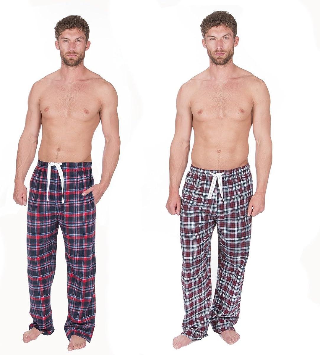 Cargo Bay Mens 2 Pack Checkered Flannel Woven Lounge Pants PJ Bottoms Tartan UK
