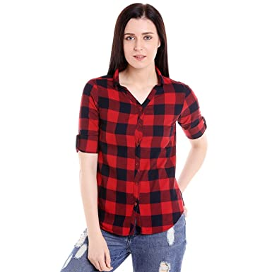 778a84e3104 GSA ENTERPRISES GSAMALL Women's Full Sleeve Red/Black Check Cotton Shirt