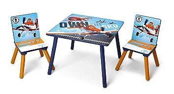 Delta TT 89453 - Juego de sillas y Mesa Infantiles (Mesa de 60 x 60 cm, 2 sillas, Tablero de Fibras de Madera), diseño de Aviones