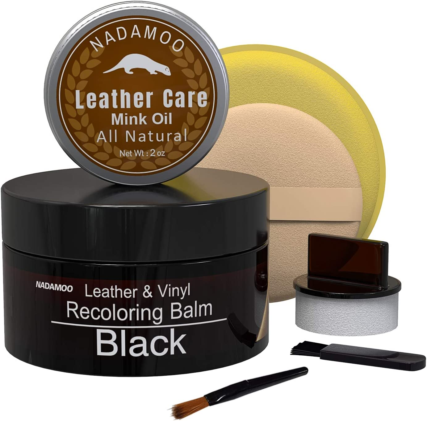 NADAMOO Black Leather Recoloring Balm with Mink Oil Leather Conditioner, Leather Repair Kits for Couches, Restoration Cream Scratch Repair Leather Dye for Vinyl Furniture Car Seat, Sofa, Shoes