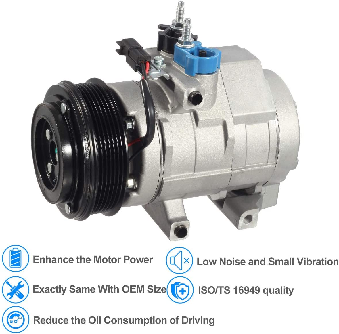 AC Compressor /& A//C Clutch For Ford F-150 F-250 F-350 Super Duty Expedition Lincoln Navigator Mark LT BuyAutoParts 60-02061NA New
