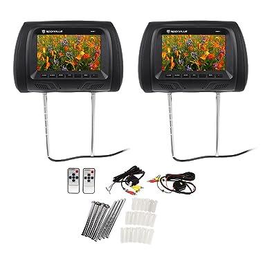 Rockville RHP7-BK 7 TFT-LCD Car Headrest TV Monitors w/ Speakers IR (Pair, Black)