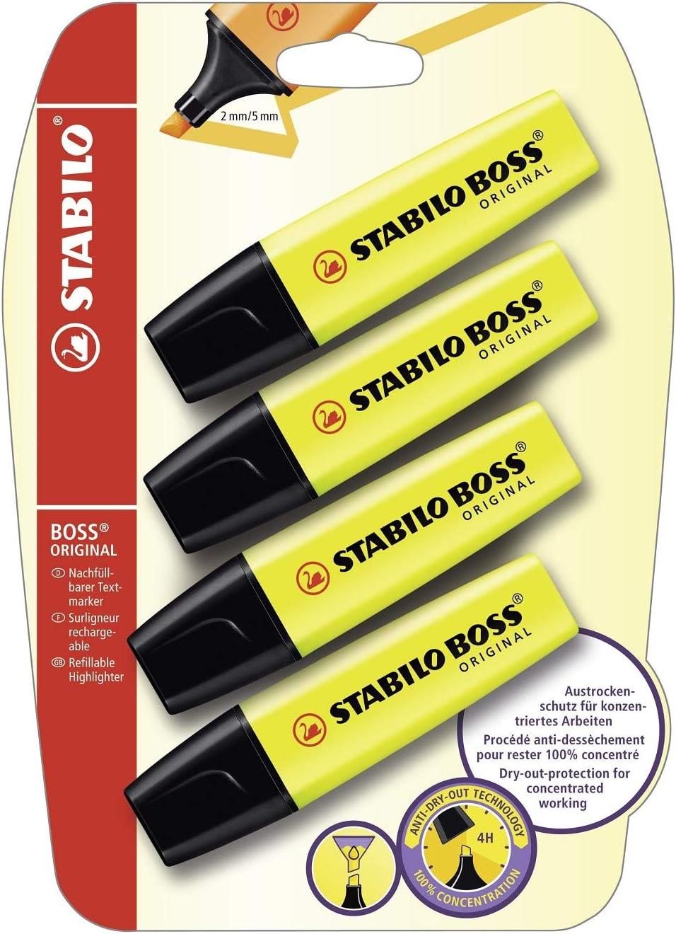 Stabilo B-14892 - Subrayador, amarillo (Pack de 4)