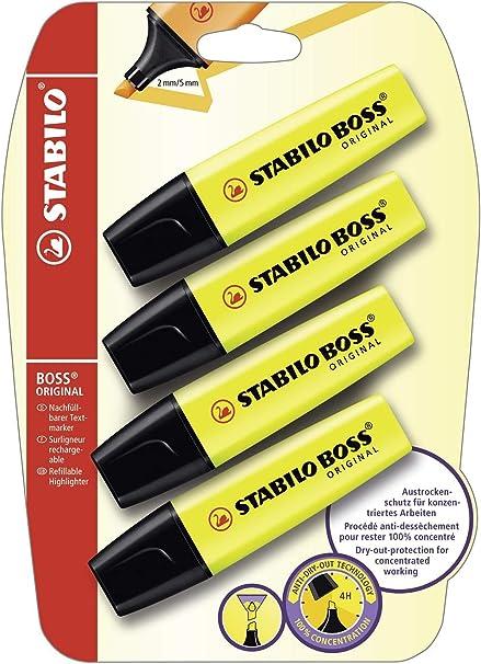 Stabilo B-14892 - Subrayador, amarillo (Pack de 4): Amazon.es ...