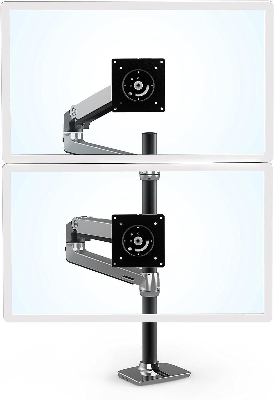 エルゴトロン LX デスクマウント デュアル モニターアーム 縦/横型 長身ポール アルミニウム 45-549-026