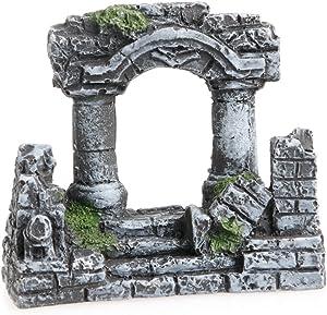 Oranmay Aquarium Roman Column Square Stone Pillars Resin Aquarium Landscaping Fish Tank Decor