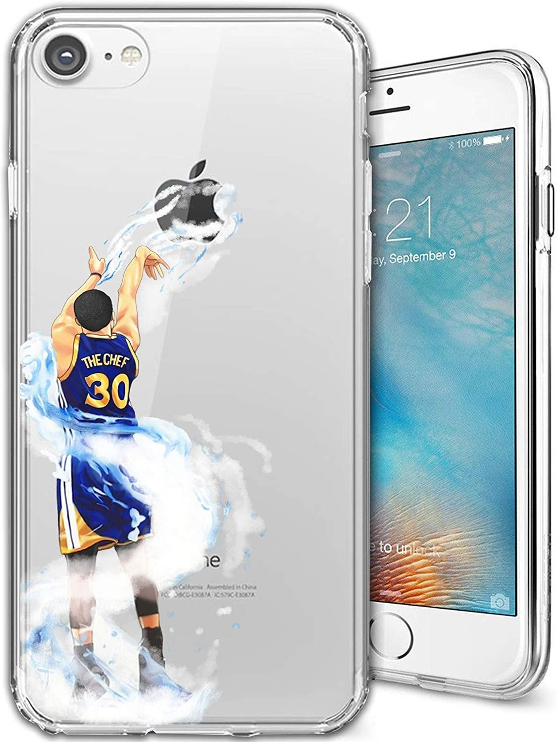 ETERINS Cases Ultra Slim [Crystal Clear] [Hardwood Series] Soft Transparent TPU Case Cover - Splash Curry for iPhone 8 7 Plus