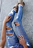 Enjoybuy Womens Distressed Stretch Jeans Juniors