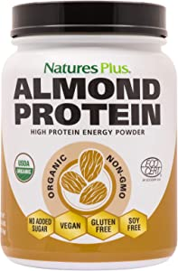NaturesPlus Almond Protein Powder - 1.04 lbs, Unflavored - USDA Certified Organic, Non-GMO Vegan Protein Powder, No Added Sugar, Promotes Muscle Recovery - Vegetarian, Gluten-Free - 15 Servings