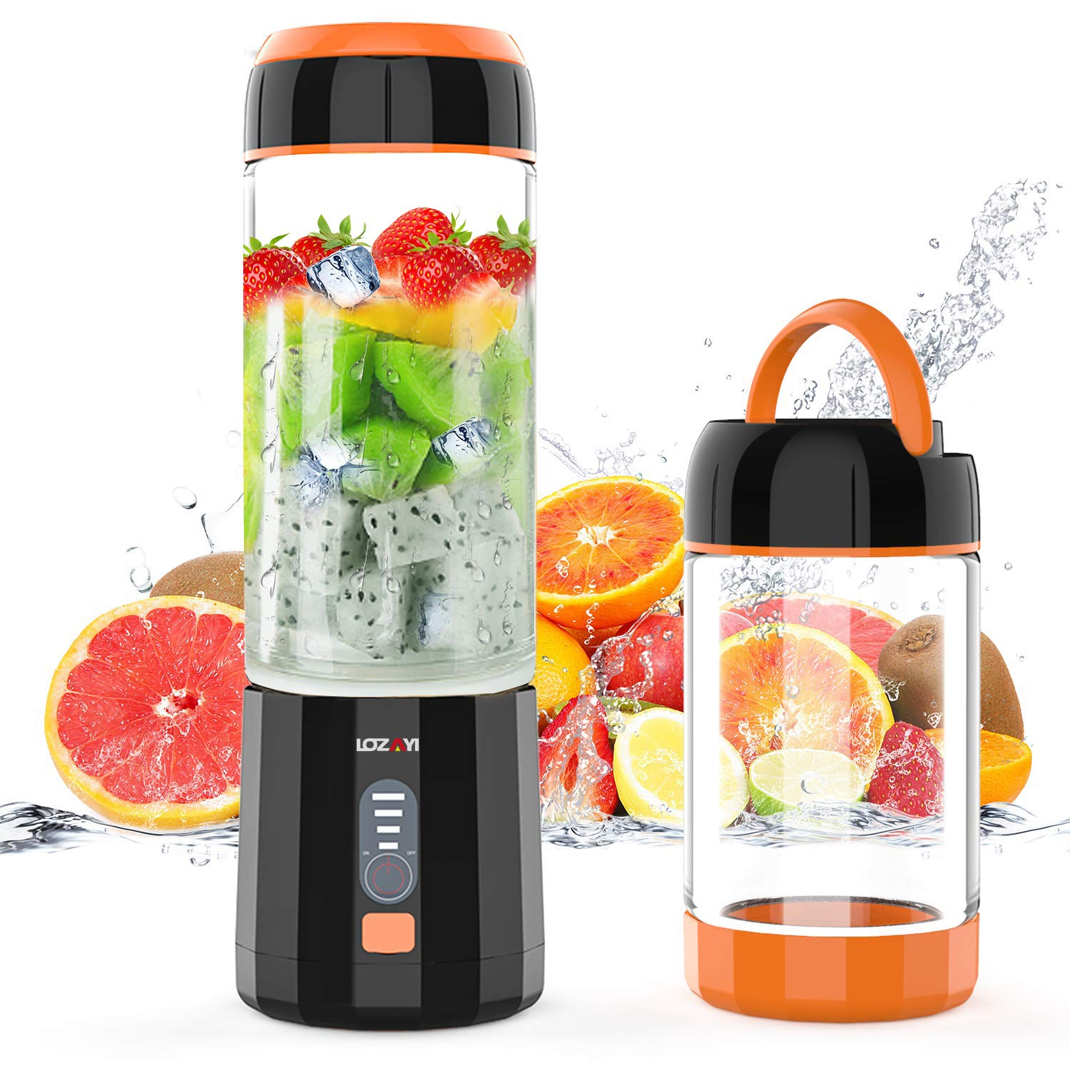 Smoothie Blender, LOZAYI Portable Blender Travel USB Rechargeable Juicer Cup for Shakes and Smoothies, Cordless Small Personal Blender Fruit Mixer Mini Blender with Led Displayer for Outdoor Travel Home Office (Orange) by LOZAYI