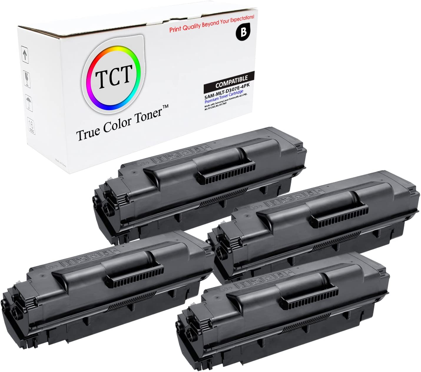 4 Pack TCT Premium Compatible Toner Cartridge Replacement for Samsung MLT-D307E Black Extra High Yield Works with Samsung ML-5010ND Printers 20,000 Pages