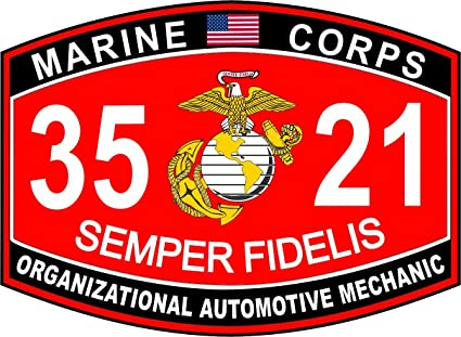 USMC MOS 3521 Organizational Automotive Mechanic Decal