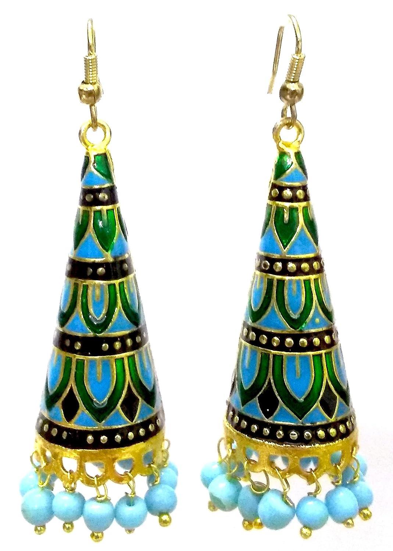 DESI HAWKER Meenakari Minakari Enamel Paint Golden Handmade Earring Bali Jhumki Jhumka Jewelry Bollywood Indian Drop Dangle Chandelier NI-226