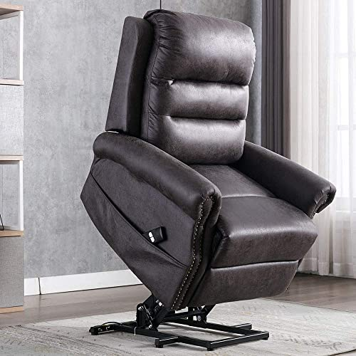 Power Lift Recliner Chair for Elderly – Bonzy Home Reclining Chair with Remote Control, Electric Lift Recliner Chair for Living Room Vintage Style with Metal Rivets D cor Grey