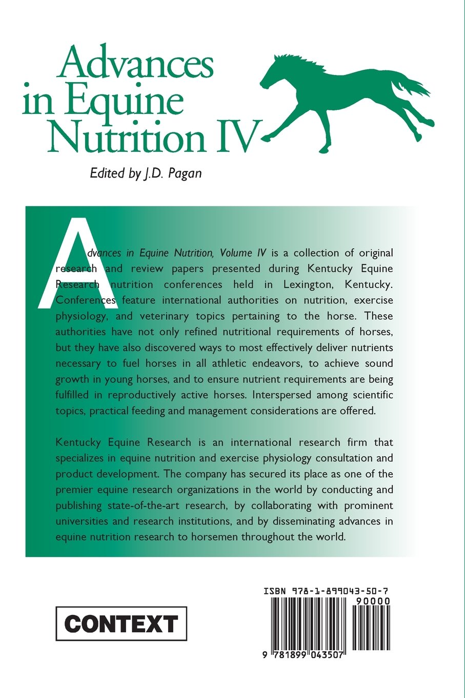 Advances in Equine Nutrition IV: Amazon.co.uk: J D Pagan: 9781899043507:  Books