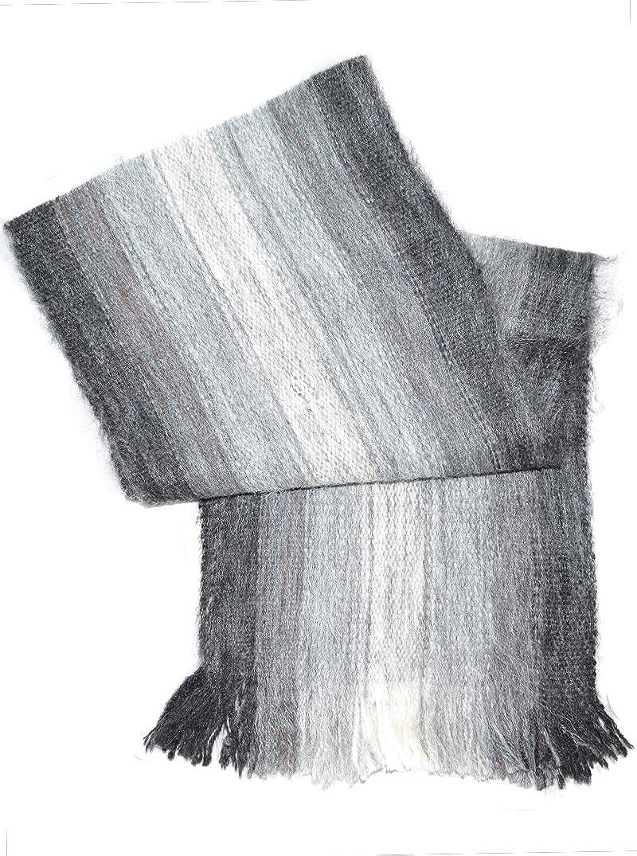 Gamboa - Sciarpa in Alpaca Estremamente Calda e Morbida - Disegno a Strisce di Toni Grigi 13348