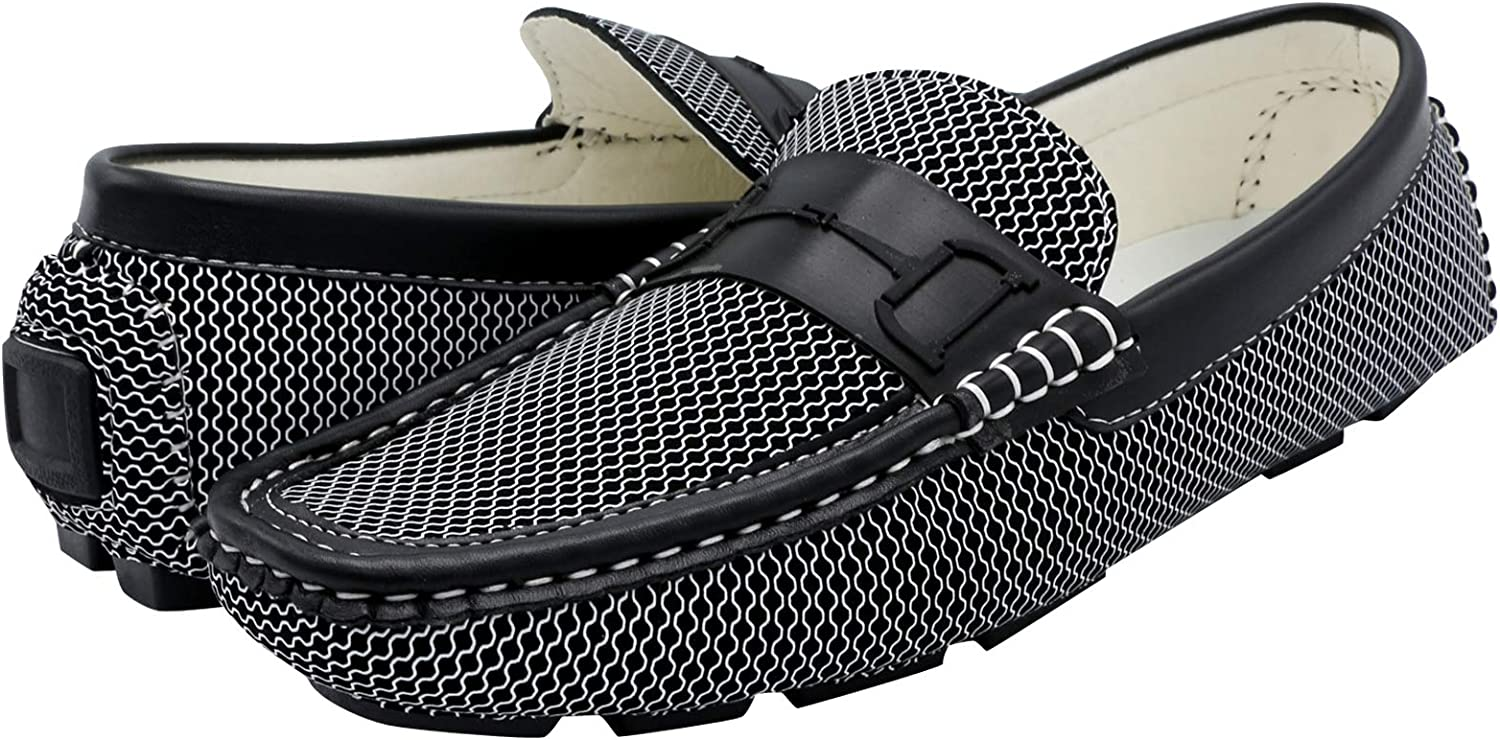 Marco Vitale Mens Driving Moc Shoe,White//Black,8