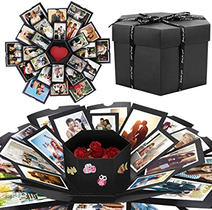 DIY Explosion Box, Eterbiz Creativo DIY Hecho a Mano Sorpresa Caja de Regalo Amor Memoria, Álbum de Fotos de Scrapbooking Caja de Regalo para Cumpleaños Día de San Valentín Aniversario: Amazon.es: Oficina