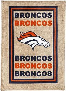 Team Sports America NFL Denver Broncos LE Logo Burlap Garden Flag, Medium, Multicolor