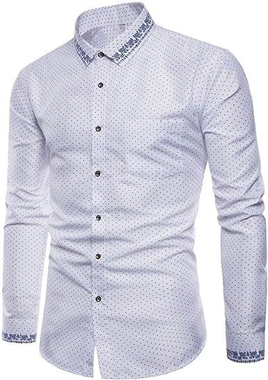 Burfly Hombres Solapa Camisa Hombre Manga Larga para De De Ropa Festiva Manga Larga Oxford Formal Slim Fit Camiseta Camisas Blusa Top Básica: Amazon.es: Ropa y accesorios