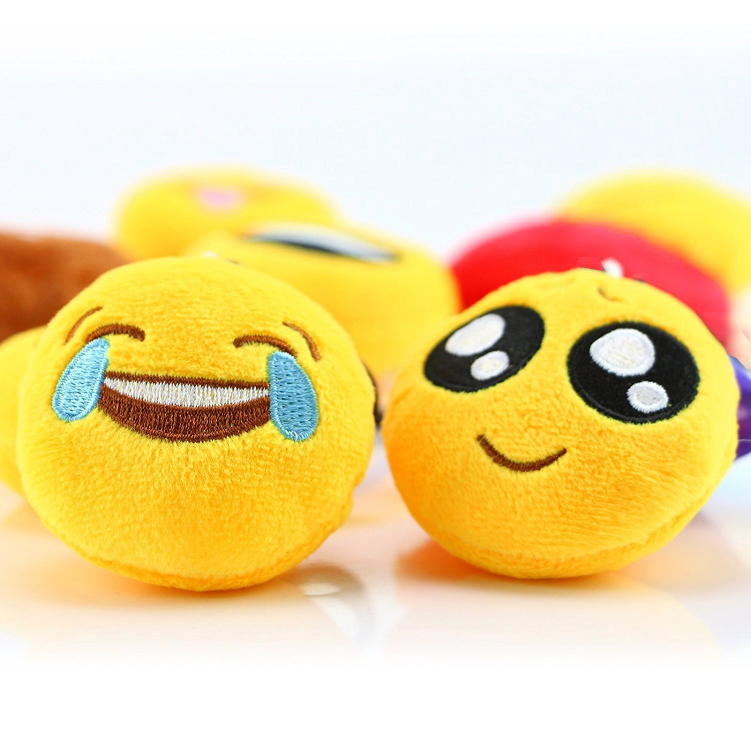 Emoji Party Supplies, Dreampark Emoji Keychain 100 Pack Mini Emoji Plush Pillows for Kids Birthday Party Favors/Easter Eggs Fillers, 2'' Set of 100 by Dreampark (Image #5)