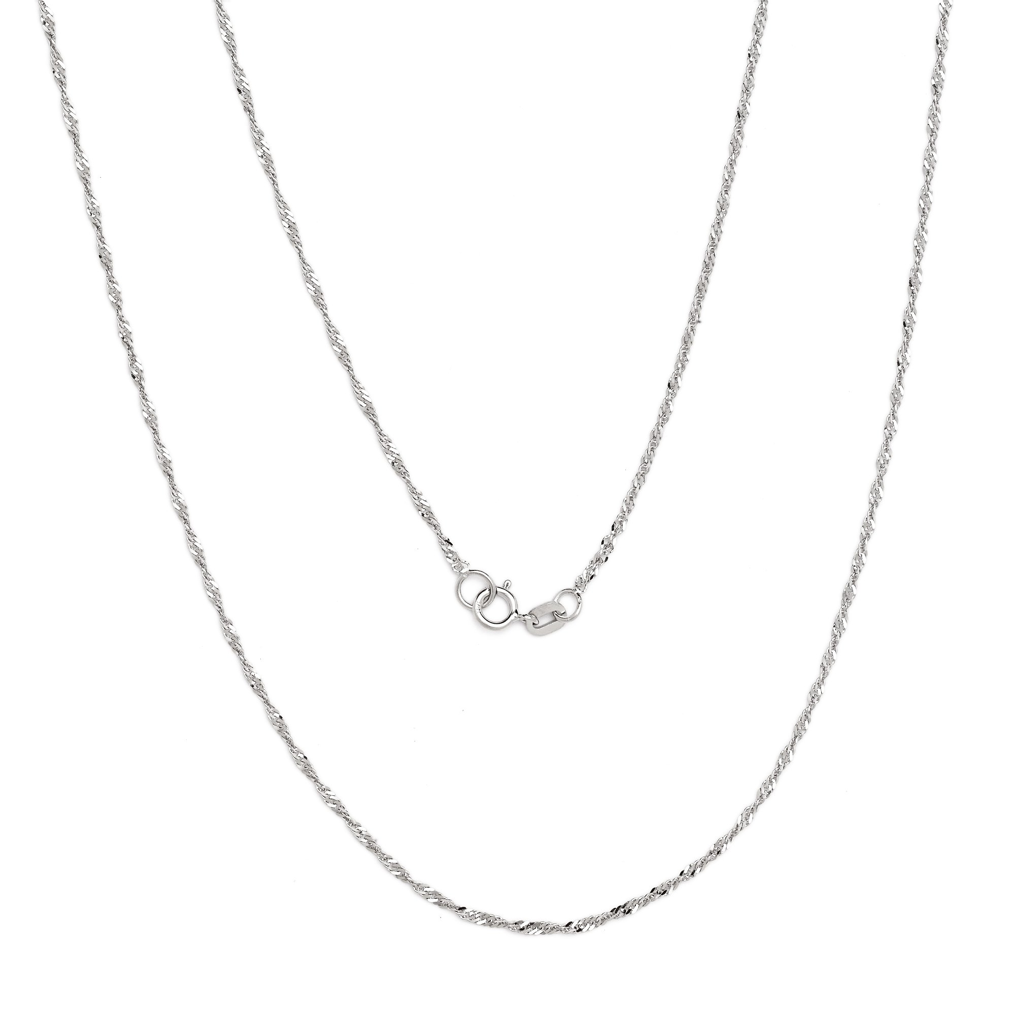 24 Inch 10k White Gold Ultra Thin Singapore Chain Necklace, 0.04 Inch (1mm)