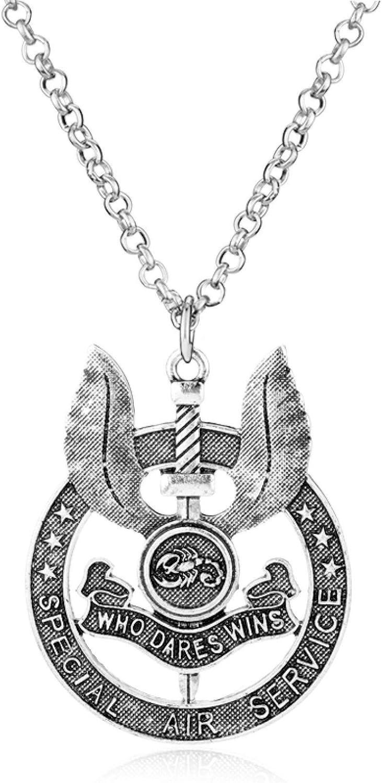 YUNMENG Collar SAS Servicio Aéreo Especial del Ejército Británico Que se atreve a Ganar Metal Insignia de la Fuerza Militar Colgante Collar Hombres Regalo