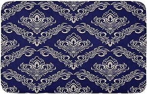 "Adowyee Bath Mat Antique Navy Blue Damask Raster Beautiful Classy Continuous Dark Cozy Bathroom Decor Bath Rug with Non Slip Backing 16"" X 24"""