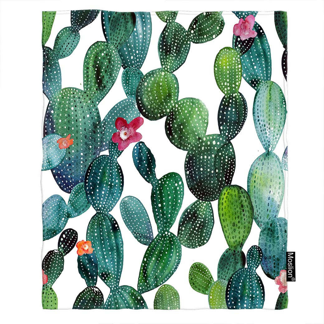 Moslion Cactus Throw Blanket Watercolor Botanical Plant Floral Cacti Thorn Flower Blanket Home Decorative Flannel Warm Travel Blankets 30x40 Inch for Pet Dog Cat Green