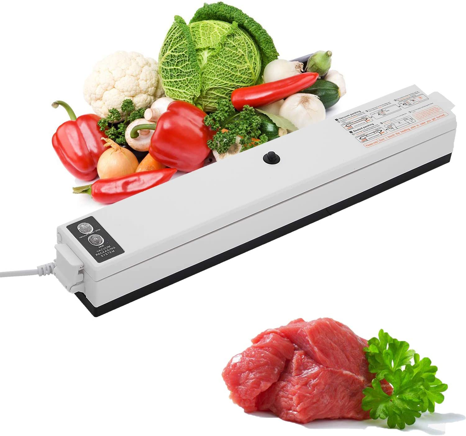 Top Taste Food Vacuum Sealer Machine, One-Touch Automatic Food Saver with Dry Moist Fresh Modes, Starter Kit with 15 PCS Sealer Bags For Sous Vide and Food Storage