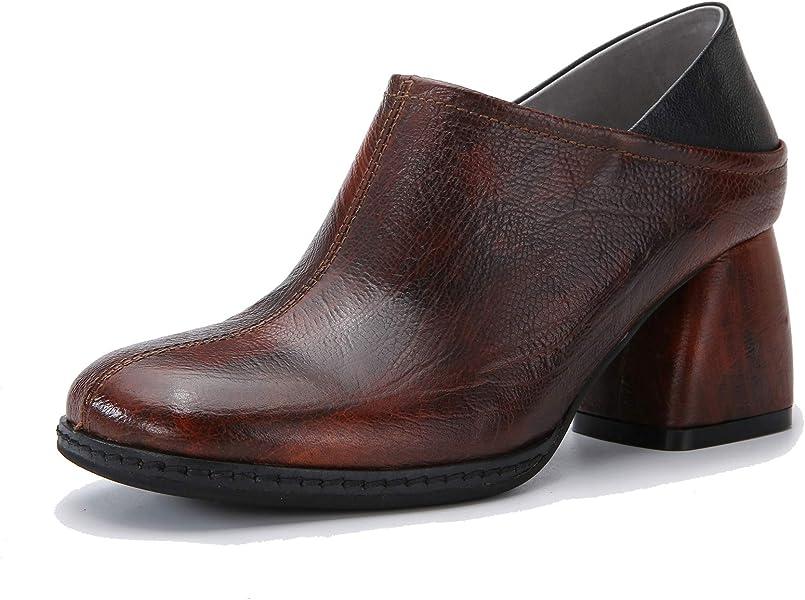 Zapatos de tacón de Bloque Vintage de Mujer Botines sin Cordones con tacón de cuña de Cuero Genuino otoñal