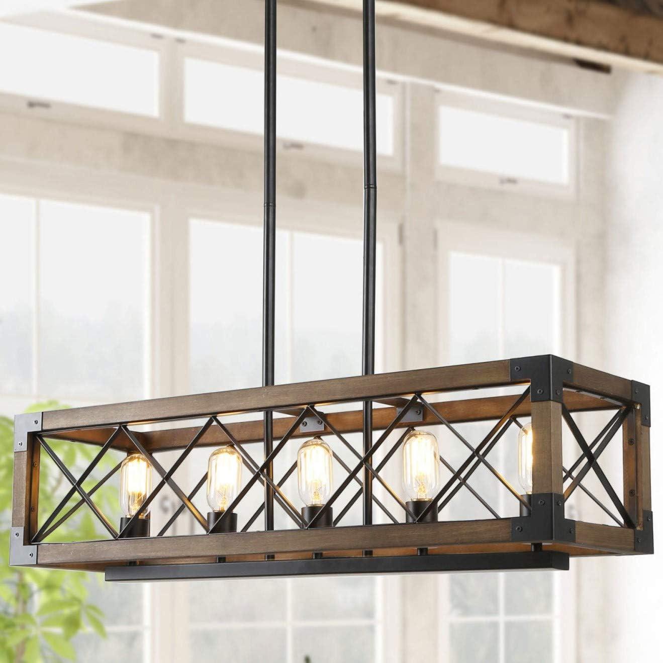 Farmhouse Chandelier For Dining Room 5 Light Rectangular Chandelier Wood Kitchen Island Lighting 31 5 L Amazon Com