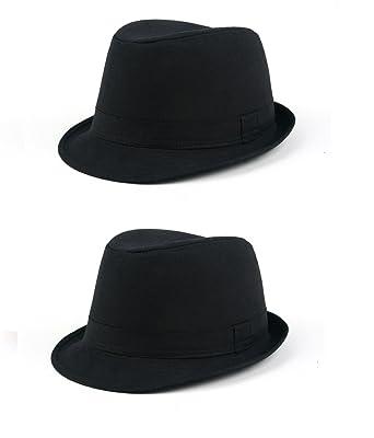 17493ba61f4af6 Cool New Fedora Style Spring/Summer Hats P142 (2 Pcs Black & Black ...