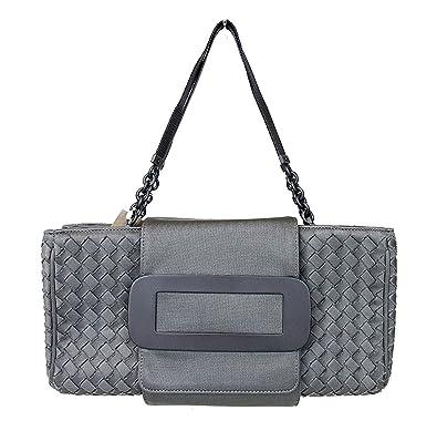 7a33dba943cb Amazon.com  Bottega Veneta Intrecciato Gray Fabric Evening Tote Bag 309348  1300  Shoes