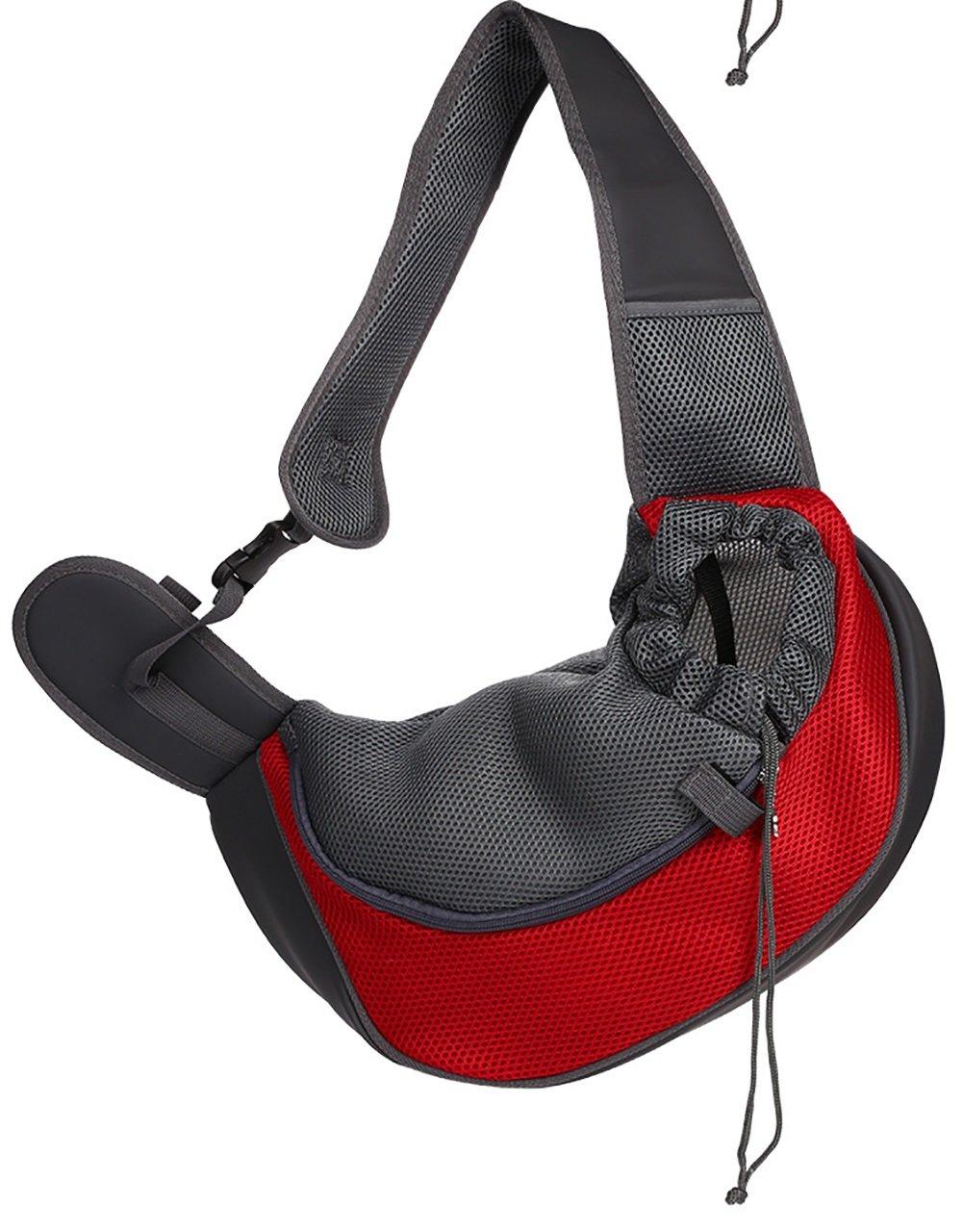 LongYu Pet Handbag,Travel Carrier Portable Backpack Messenger Shoulder Bag Kennel Mesh Ventilation Outdoor Puppy Cat Dog Bag 2 color & 2 Size (color   Red, Size   S)