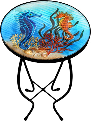 Glass Top Hand Painted Nautical Outdoor Accent Side Round Table Seahorse