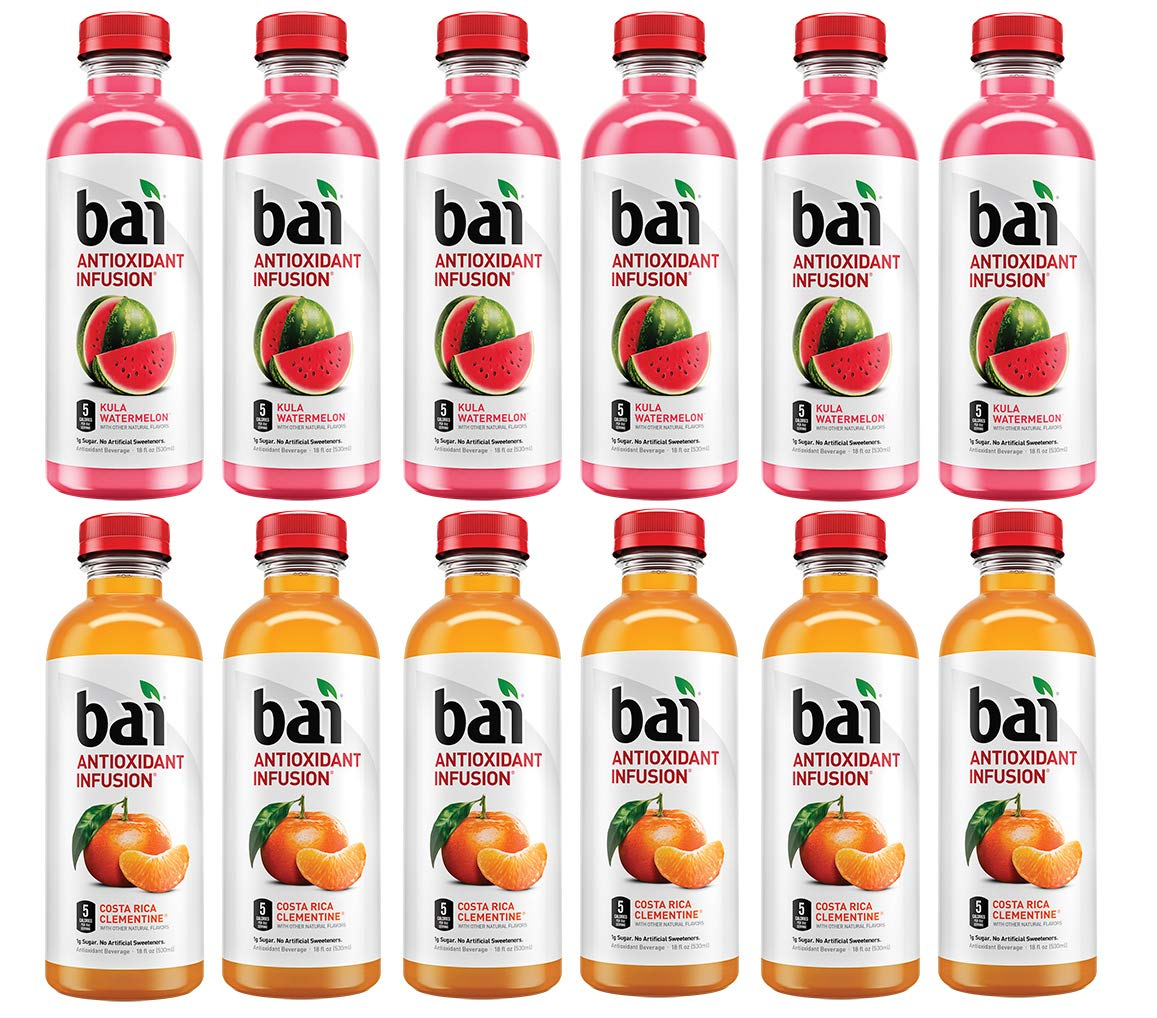 LUV-BOX Variety BAI ANTIOXIDANT Juices pack , pack of 12 , 18 fl oz , INFUSION KULA WATERMELON ,INFUSION COSTA RICA CLEMENTINE