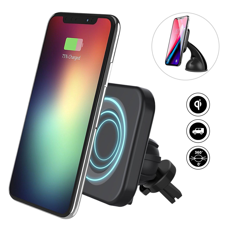 ワイヤレス車の充電器、FlowerUS高速ワイヤレス充電器磁気電話Car Air VentダッシュボードホルダーマウントIphoneのX/iPhone 8 Samsung Galaxy s8 /s8 Edge/s7アクセサリー互換すべてのQiデバイス B0791YRLVB