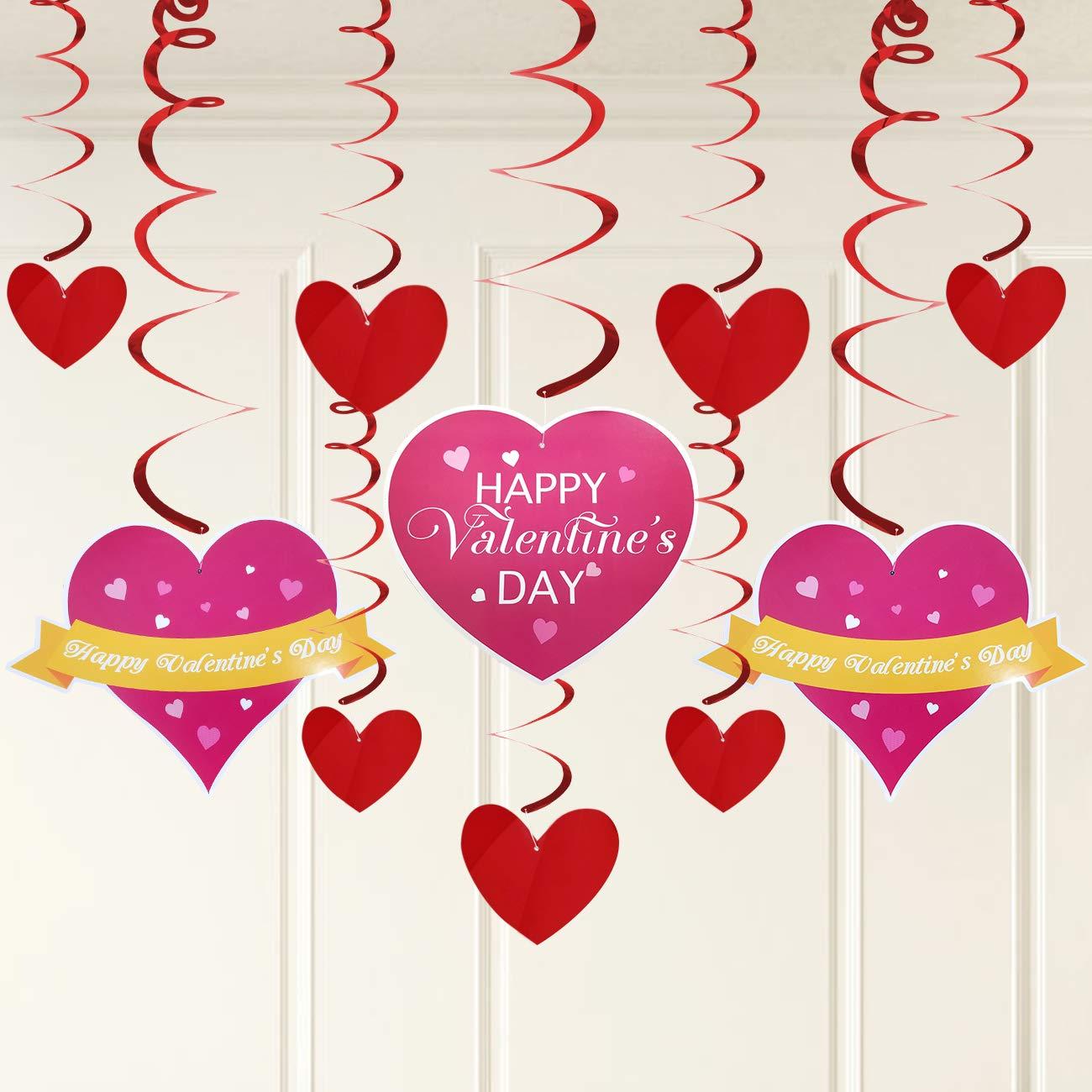 e26c9c0e7cb Amazon.com  Valentines Day Decorations - 30 Pieces Valentine Hanging Swirl  Decoration Heart Hanging Swirl Ceiling Hanging Swirl Accessories - Great  for ...