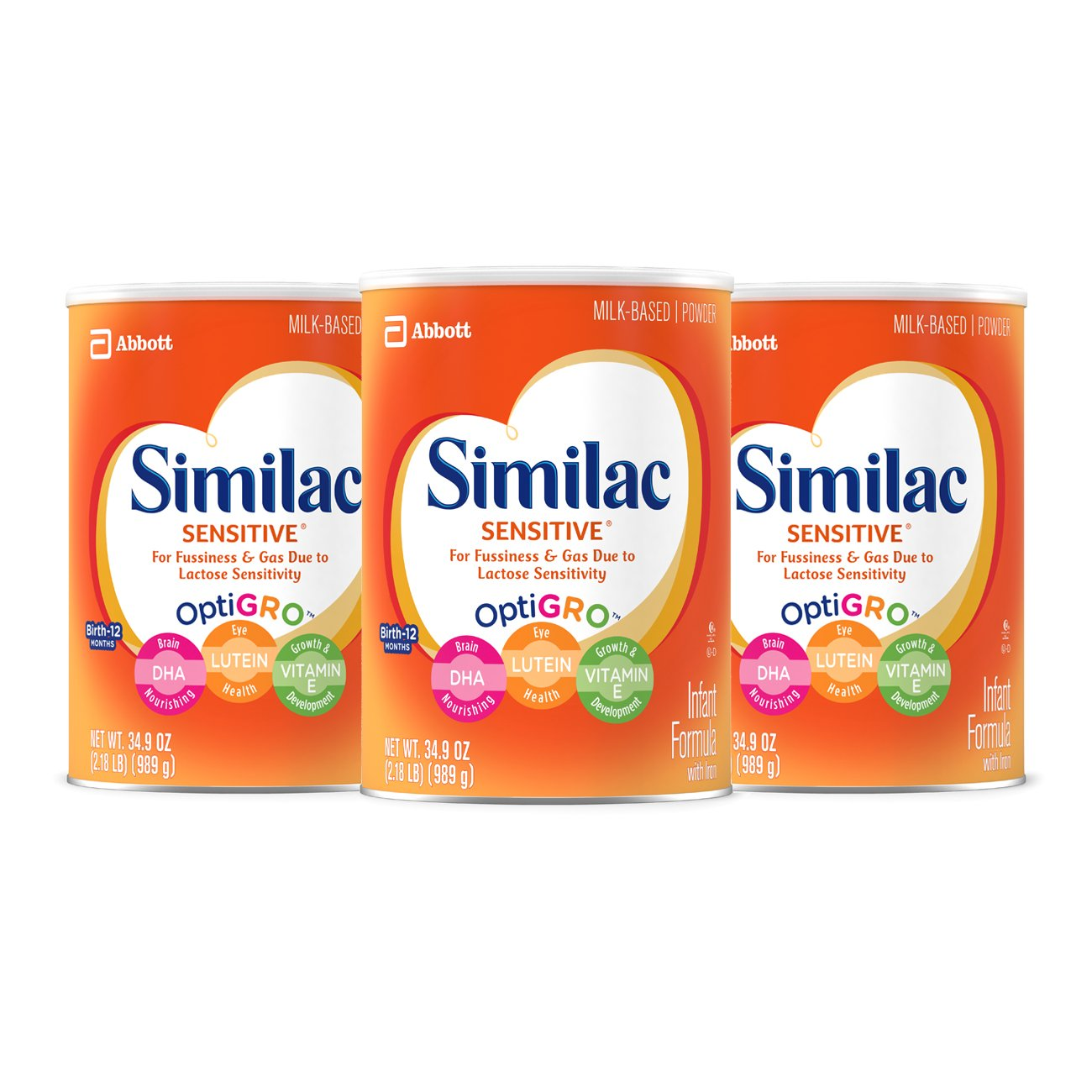 Similac Sensitive Infant Formula with Iron, For Fussiness and Gas, One Month's Supply, Baby Formula, Powder, 2.18 lb (Pack of 3) One Month' s Supply 070074644400