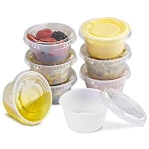 [250 Pack] 3.25 oz Plastic Containers with Lids - Clear Jello Shot Cups, Mini Portion Cup BPA Free for Sauce, Condiments, Souffle, Salad Dressing, Sushi, Medicine, Slime, Disposable Reusable Packaging