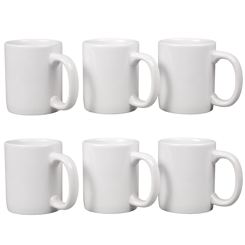"""Creative Home 85355 Set of 6 Piece, 12 oz Ceramic Coffee Mug Tea Cup, 3-1/4"""" D X 4"""" H, White"""