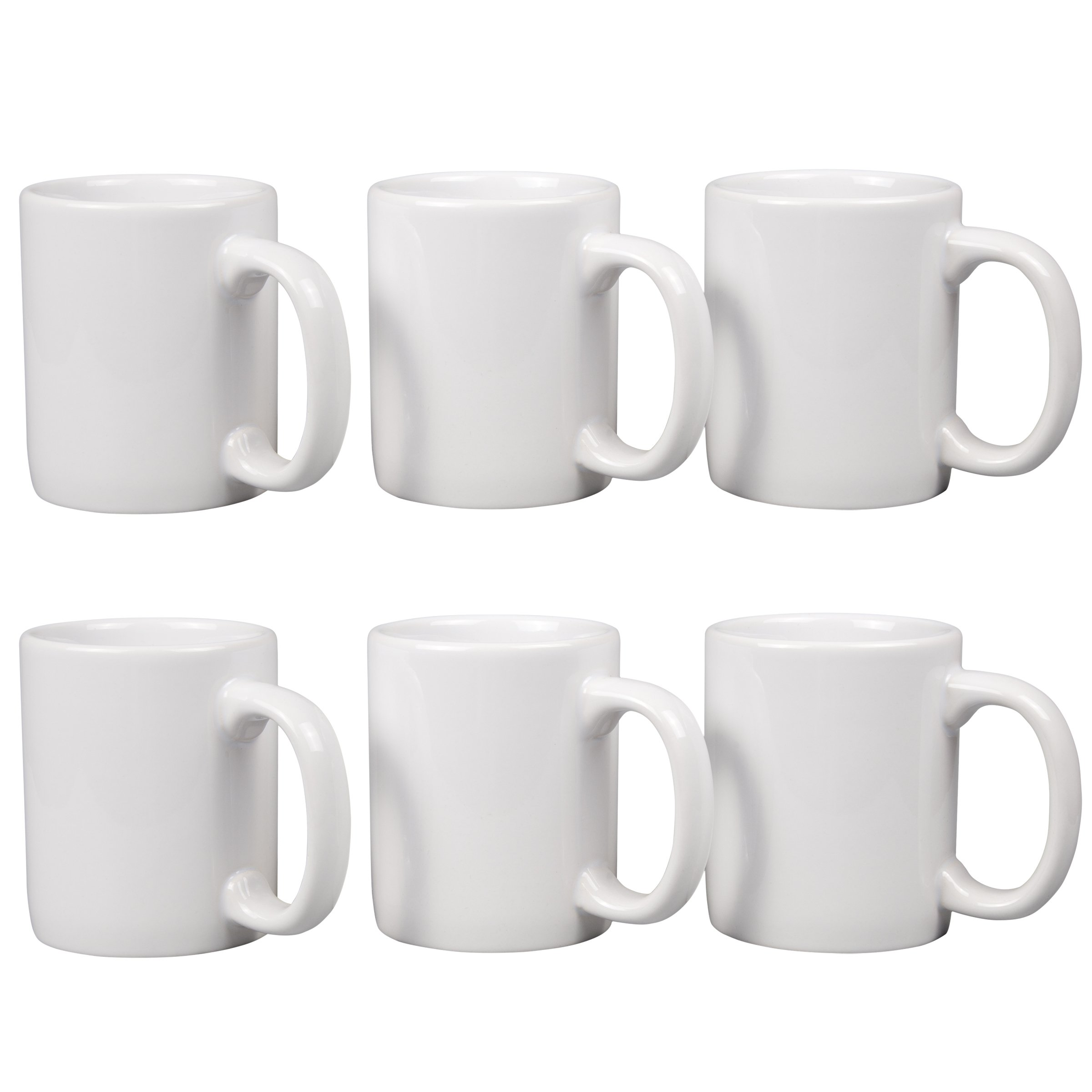 Creative Home 85355 Set of 6 Piece, 12 Oz Ceramic Coffee Mug Tea Cup, 3-1/4'' D x 4'' H, White by Creative Home (Image #1)
