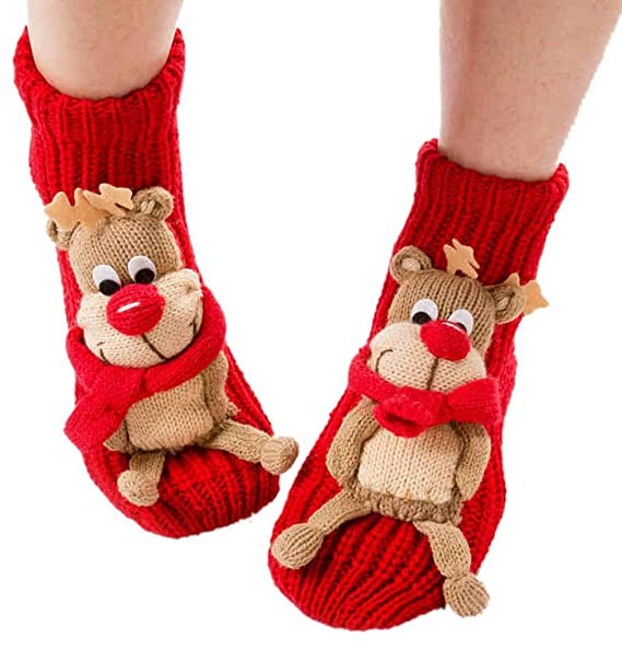 La vogue Mujer Calcetines de Punto Tejido para Casa Casual Invierno Ciervo Navidad (Rojo)