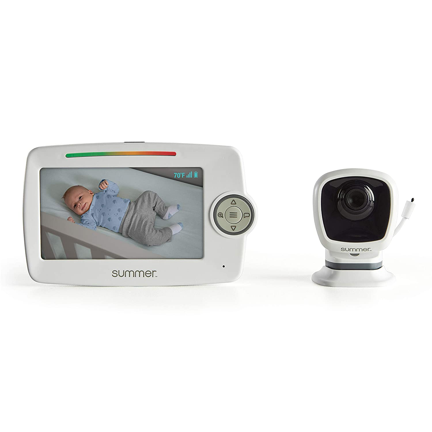 """Summer Lookout 5"""" LCD Video Baby Monitor - Digital Zoom, 1000ft Range, Two-Way Audio, Night Vision, Temperature Display, and No-Hole Wall Mount"""