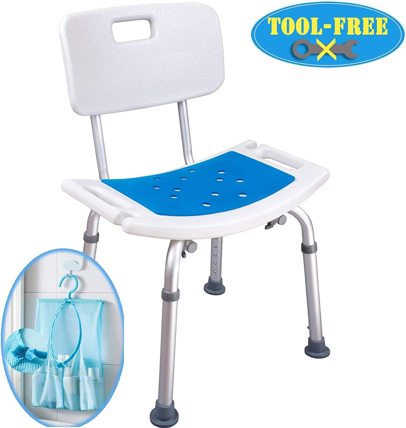 Beauty Shower Chair with Safety Backrest Height Adjustable Portable Medical Stool Non-Slip Bath Chair Bath Bench for The Disabled Color : A