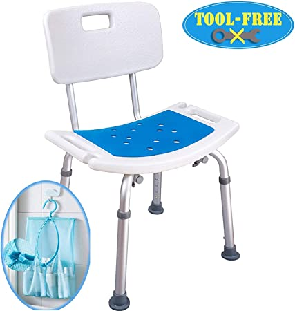 Medokare Shower Chair With Back Padded Shower Seat For Seniors With Handles And Tote Bag Shower Bench Bath Chair For Elderly Handicap Tub Shower Seats For Adults White Chair Amazon Co Uk Health