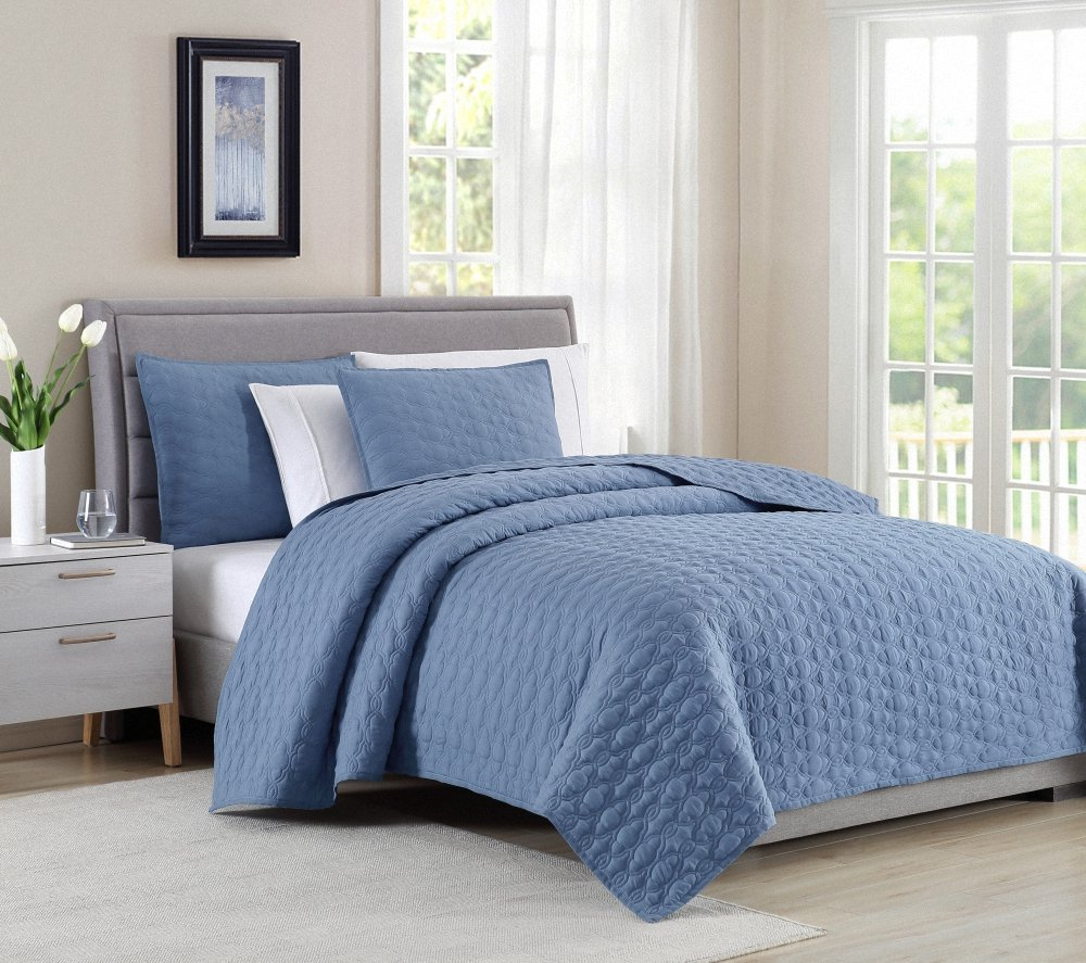 Bourina Reversible Bedspread Coverlet Set - Microfiber Lightweight Comforter Oversized 3-Piece Quilt Set King, Chambray