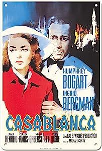 Pacifica Island Art Casablanca - Starring Humphrey Bogart and Ingrid Bergman - Vintage Film Movie Poster by Silvano Nano Campeggi c.1942-8in x 12in Vintage Tin Sign